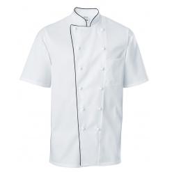 Férfi szakácskabát Premium Chef rövid ujjú, fekete szegéllyel