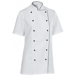 Női szakácskabát Premium Chef rövid ujjú, fekete szegéllyel
