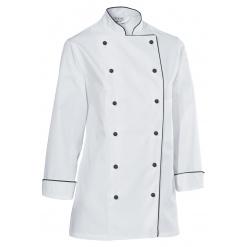 Női szakácskabát Premium Chef hosszú ujjú,fekete szegéllyel