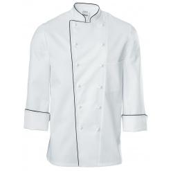 Férfi szakácskabát Premium Chef hosszú ujjú, fekete szegéllyel