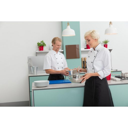 Női szakácskabát Aila hosszú ujjú, színes szegéllyel