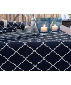Asztalterítő Alicante kék-/natúr ornamentum,négyzetes