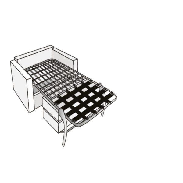 Kinyitható fotelágy fém lábakkal